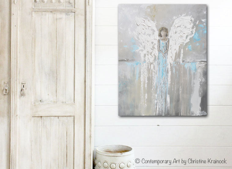 ORIGINAL Abstract Angel Painting Guardian Angel Spiritual Gift Grey Blue Home Decor Wall Art 30x24""