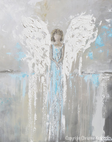 Spiritual Wall Art art abstract angel painting canvas print modern wall art blue grey