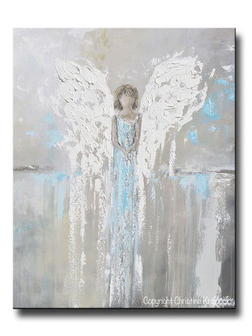 ORIGINAL Abstract Angel Painting Guardian Angel Girl Spiritual Gift Grey Blue Home Decor Wall Art 30x24""