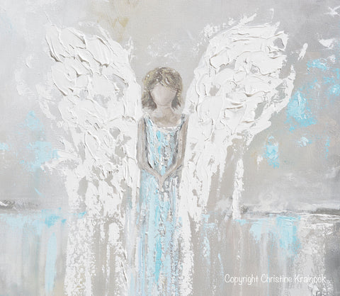 Grey And White Wall Art art abstract angel painting canvas print modern wall art blue grey
