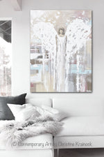 GICLEE PRINT Abstract Angel Painting Modern Angel Art Cream Light Blue Grey Pink White Home Wall Art