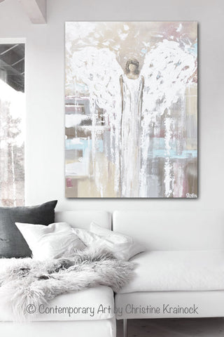 CANVAS PRINT Abstract Angel Painting Angel Cream White Wall Art ...