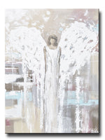 ORIGINAL Abstract Angel Painting Modern Fine Art Guardian Angel Neutral Home Wall Art X Large 30x40""
