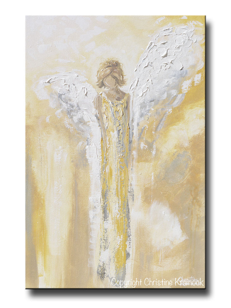 GICLEE PRINT Art Angel Painting Gold Grey White Abstract Guardian Angel Modern Home Wall Art Large