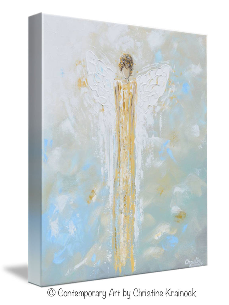 GICLEE PRINT Abstract Angel Painting Gold White Guardian Angel Canvas Blue Green Modern Home Wall Art - Christine Krainock Art - Contemporary Art by Christine - 6