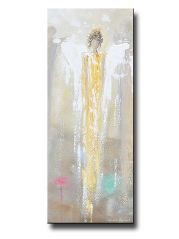 GICLEE PRINT Art Abstract Angel Painting Golden Angel Wall Art~ Joyful Heart Foundation Charity - Christine Krainock Art - Contemporary Art by Christine - 1