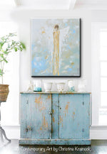GICLEE PRINT Abstract Angel Painting Gold White Guardian Angel Canvas Blue Green Modern Home Wall Art - Christine Krainock Art - Contemporary Art by Christine - 2