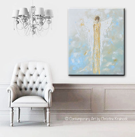 Print Abstract Guardian Angel Painting Gold Blue Wall Art Canvas ...