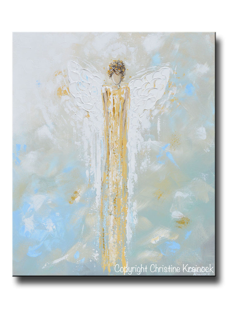 GICLEE PRINT Abstract Angel Painting Gold White Guardian Angel Canvas Blue Green Modern Home Wall Art