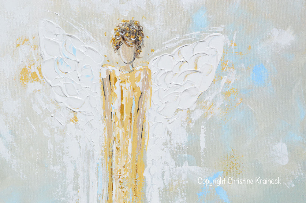 GICLEE PRINT Abstract Angel Painting Gold White Guardian Angel Canvas Blue Green Modern Home Wall Art - Christine Krainock Art - Contemporary Art by Christine - 5