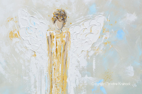 Fantastic Print Abstract Guardian Angel Painting Gold Blue Wall Art Canvas  SW04