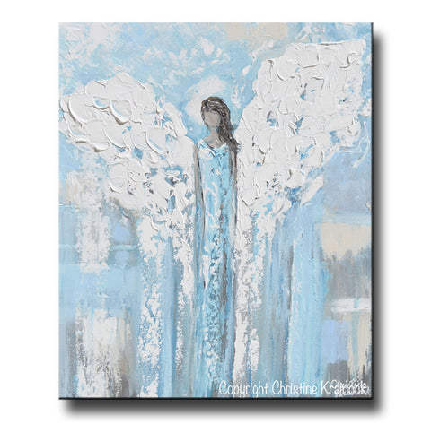 Art Angel Painting Abstract Blue White Guardian Angels Canvas Wall ...