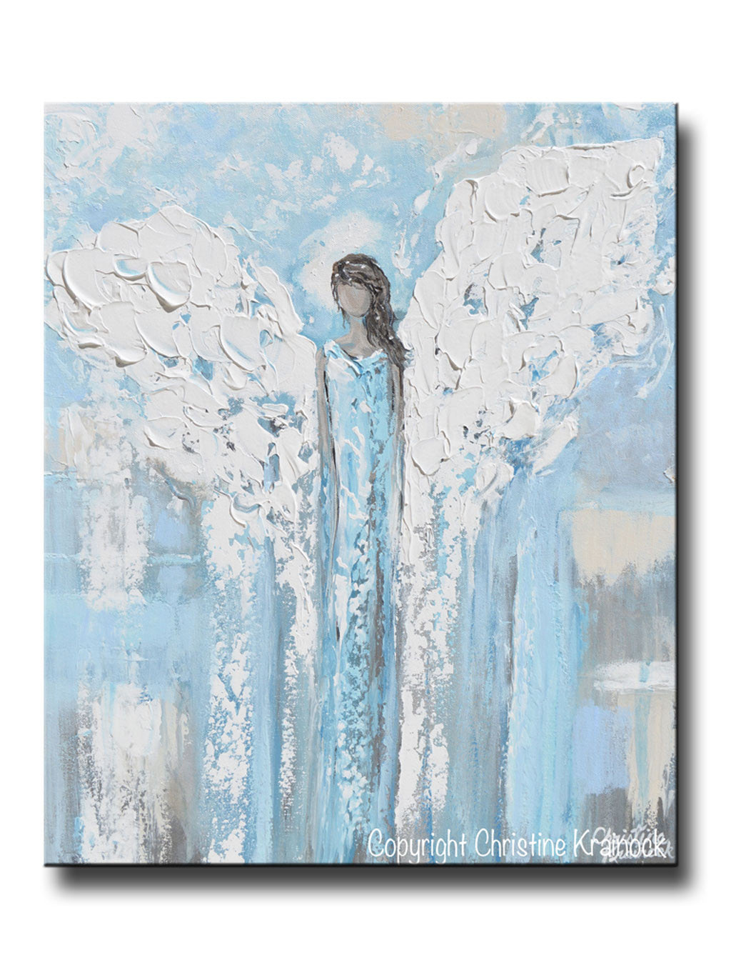 Art Angel Painting Abstract Blue White Guardian Angels Canvas Wall Contemporary By Christine