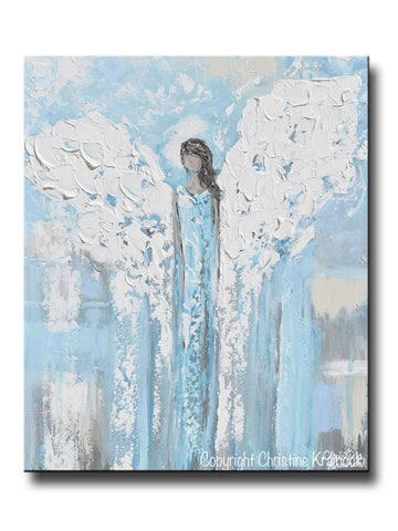 ORIGINAL Angel Painting Abstract Light Blue Guardian Angel Textured Home Decor Spiritual Wall Art 20x24""