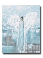 ORIGINAL Abstract Angel Painting Guardian Angel White Blue Grey Textured Palette Knife Modern Home Decor Wall Art 24x30""