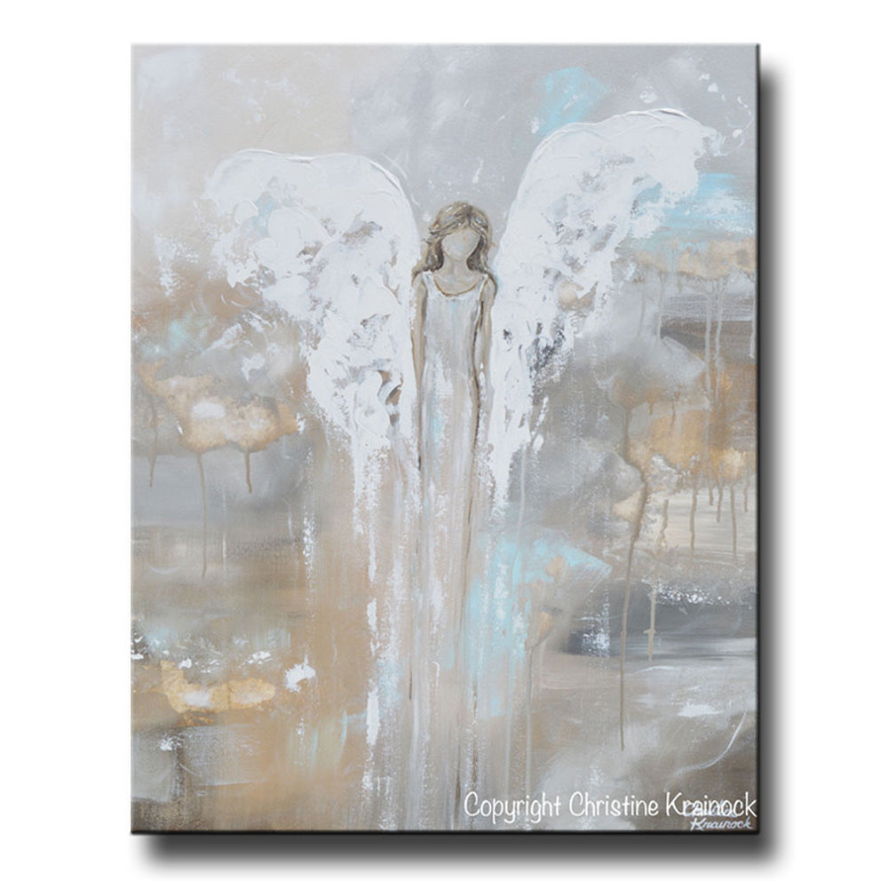 SPECIAL RELEASE GICLEE PRINT Abstract Angel Painting Guardian Angel Spiritual Gift Blue Gold Home Decor Wall Art Joyful Heart Foundation