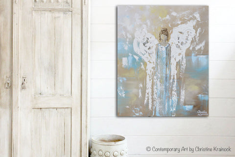ORIGINAL Angel Painting Abstract Guardian Angel Inspirational Wall ...