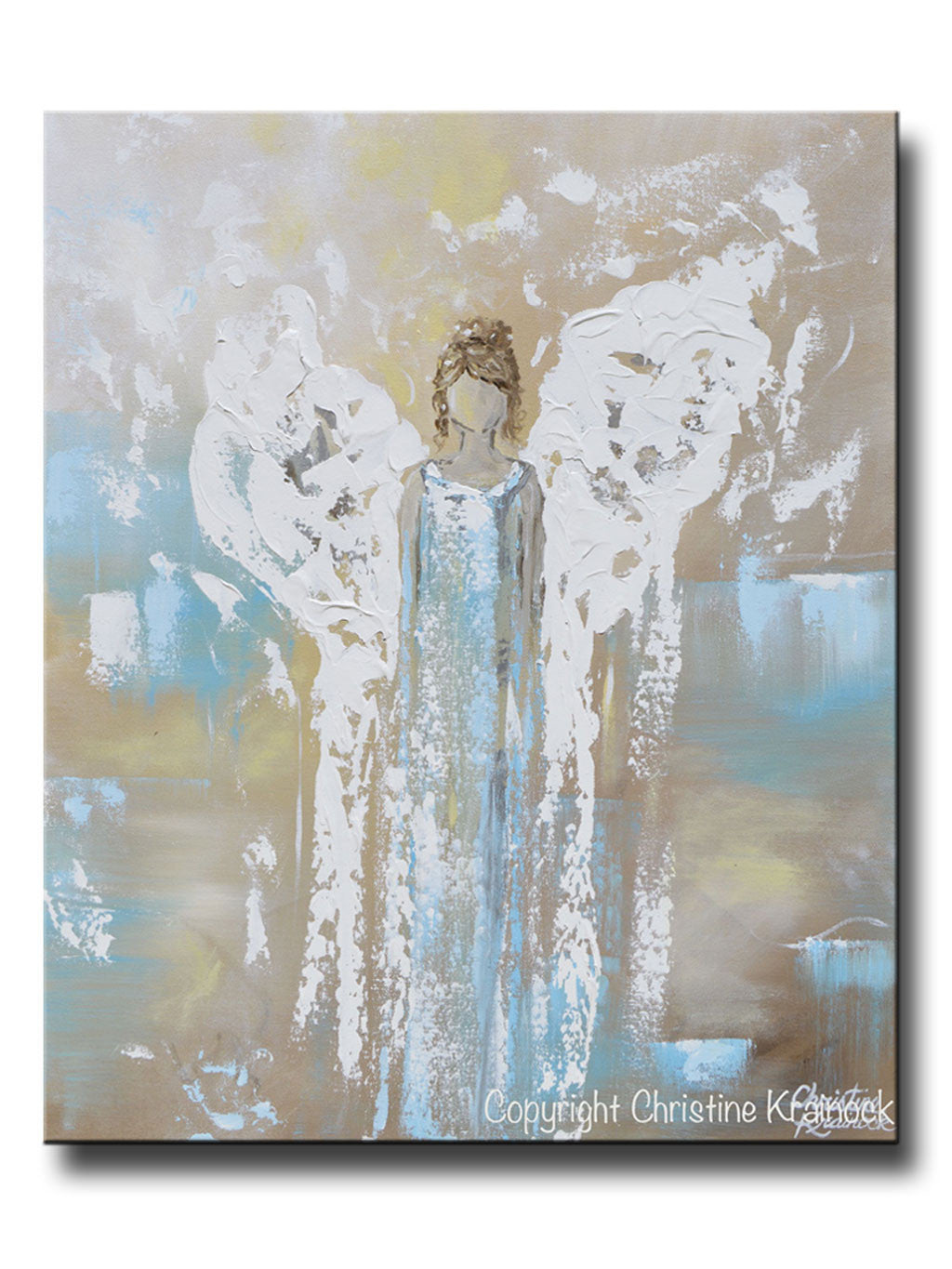 Art Angel Painting Abstract Guardian Inspirational Wall Blue Contemporary By Christine