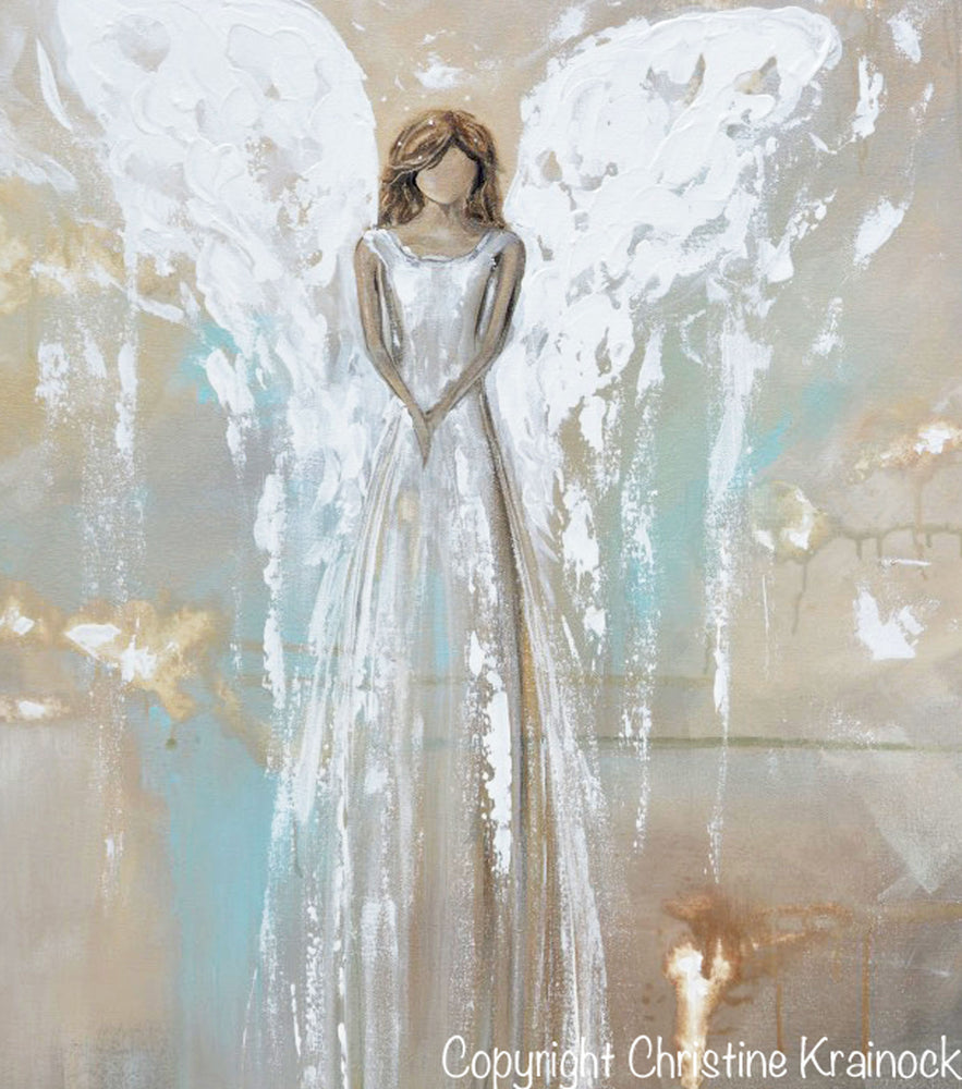 GICLEE PRINT Art Angel Painting Fine Art Guardian Angel Grey White Cream Beige Home Wall Decor