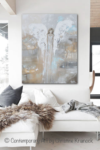 Neutral Wall Decor giclee print abstract angel painting modern gallery wall art blue