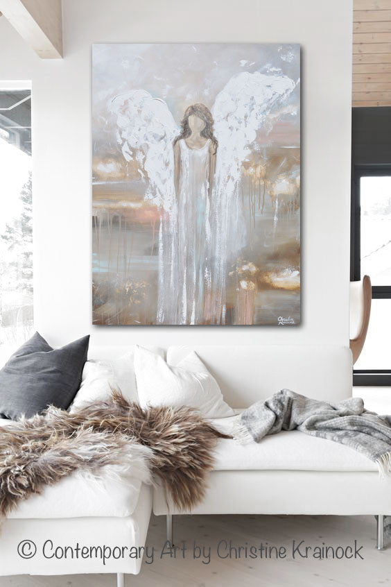 """Delicate Strength"" GICLEE PRINT Abstract Angel Painting Fine Art Female Guardian Angel Home Canvas Wall Art"