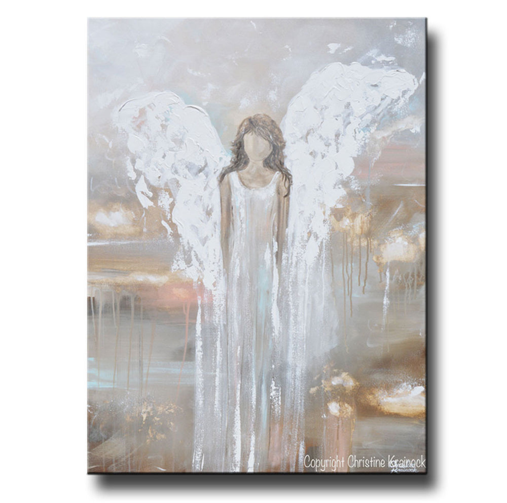 GICLEE PRINT Abstract Angel Painting Fine Art Guardian Angel Girl Home Canvas Wall Art