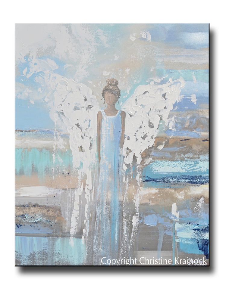ORIGINAL Abstract Angel Painting Spiritual  Fine Art Guardian Angel Blue Brown Canvas Wall Decor 24x30""