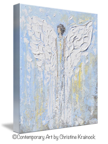 Spiritual Wall Art canvas print abstract angel painting blue white angels