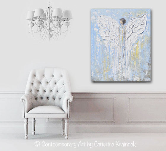GICLEE PRINT Abstract Angel Painting Blue White Guardian Angel Inspirational Art Spiritual Wall Art - Christine Krainock Art - Contemporary Art by Christine - 5
