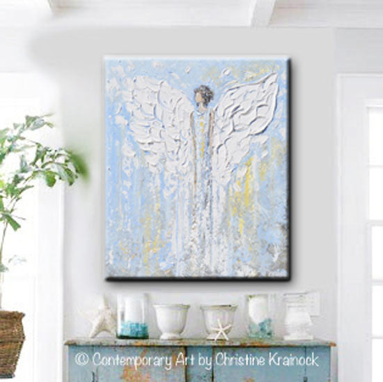 Canvas print abstract angel painting blue white angels for Blank canvas designs wall art