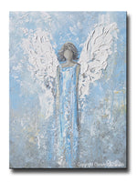 GICLEE PRINT Abstract Angel Painting Art Light Blue White Guardian Angel Palette Knife Fine Art Spiritual Wall Art - Christine Krainock Art - Contemporary Art by Christine - 1