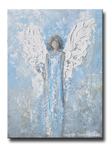 "ORIGINAL Abstract Angel Painting Textured Light Blue White Guardian Angel Palette Knife Fine Art Spiritual Wall Art 24"" - Christine Krainock Art - Contemporary Art by Christine - 1"