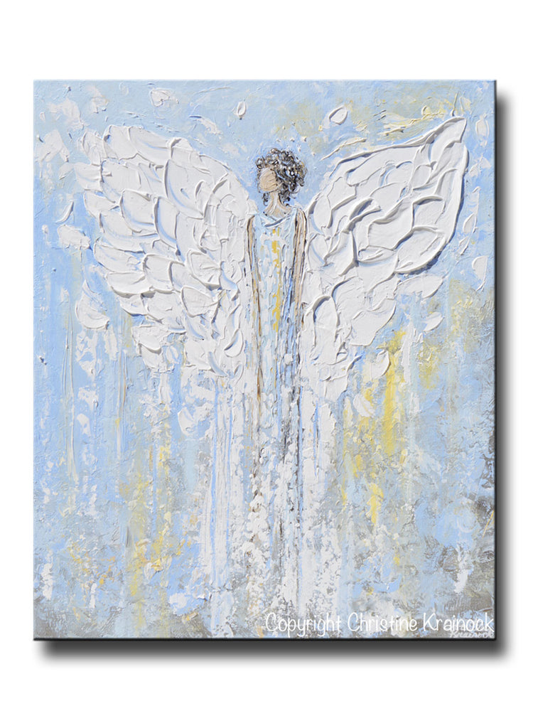 "ORIGINAL Abstract Angel Painting Light Blue White Guardian Angel Inspirational Art Textured Spiritual Wall Art 24"" - Christine Krainock Art - Contemporary Art by Christine - 1"