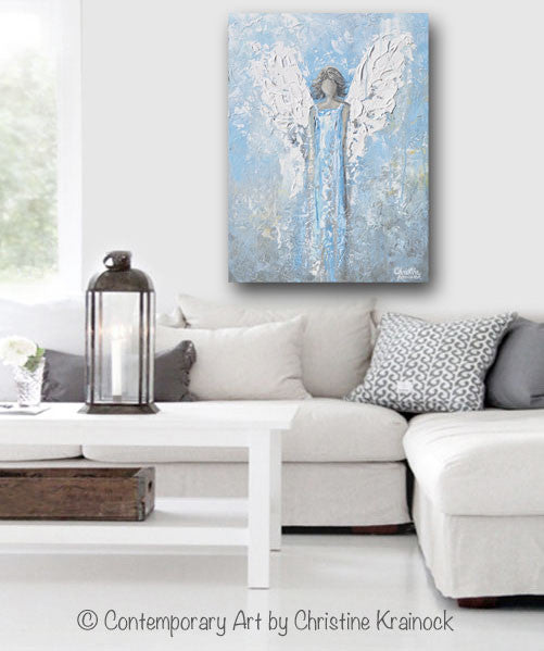"ORIGINAL Abstract Angel Painting Textured Light Blue White Guardian Angel Palette Knife Fine Art Spiritual Wall Art 24"" - Christine Krainock Art - Contemporary Art by Christine - 4"
