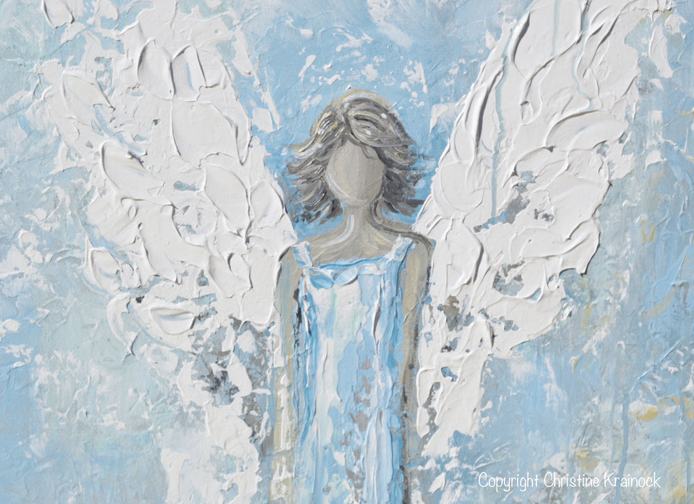 GICLEE PRINT Abstract Angel Painting Art Light Blue White Guardian Angel Palette Knife Fine Art Spiritual Wall Art - Christine Krainock Art - Contemporary Art by Christine - 5