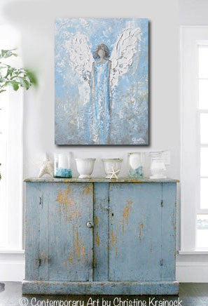 "ORIGINAL Abstract Angel Painting Textured Light Blue White Guardian Angel Palette Knife Fine Art Spiritual Wall Art 24"" - Christine Krainock Art - Contemporary Art by Christine - 2"