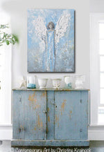 GICLEE PRINT Abstract Angel Painting Art Light Blue White Guardian Angel Palette Knife Fine Art Spiritual Wall Art - Christine Krainock Art - Contemporary Art by Christine - 2