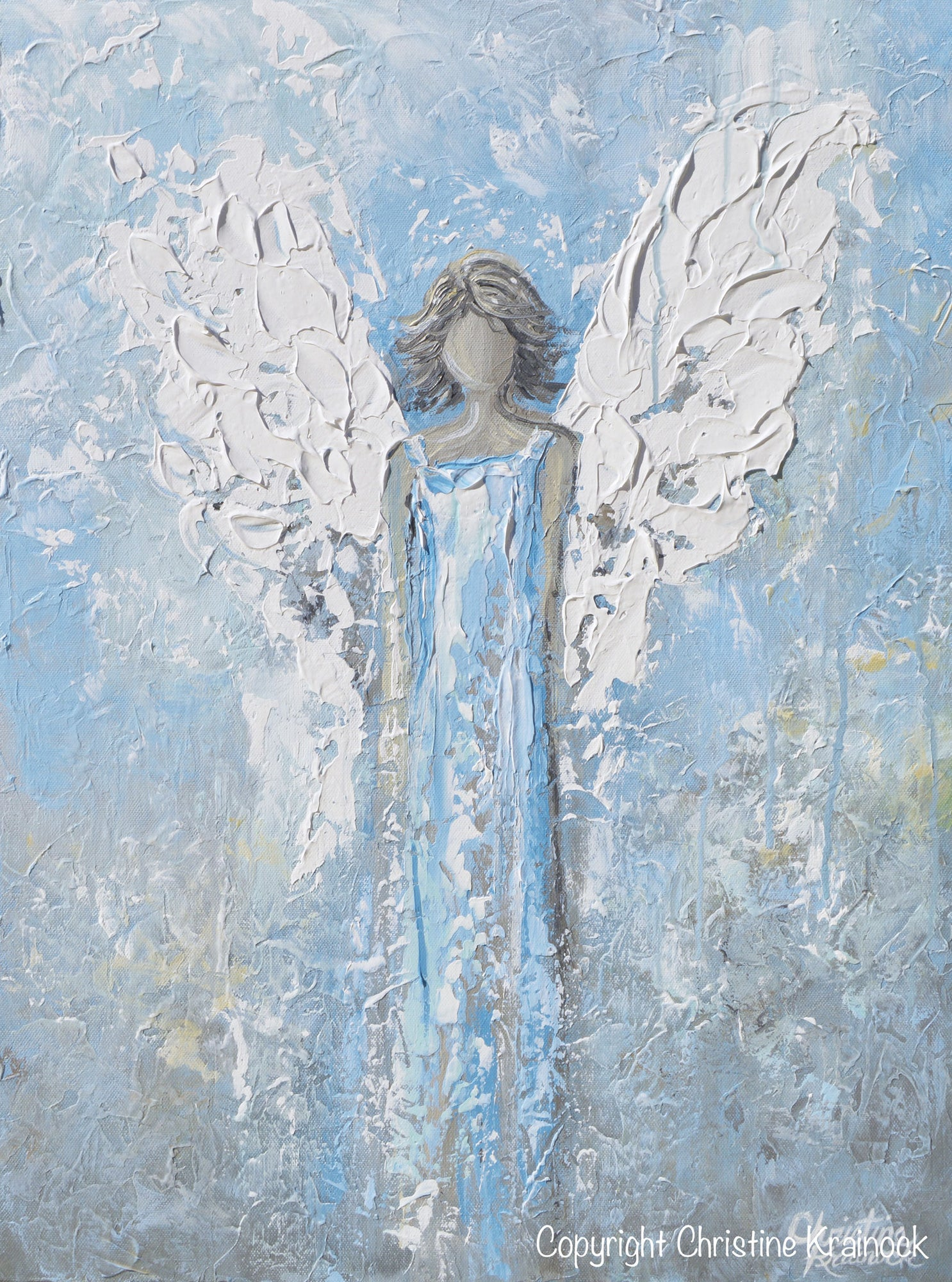 Giclee print abstract angel painting art light blue white guardian angel palette knife fine art spiritual
