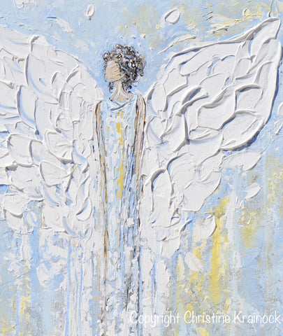 ORIGINAL Abstract Angel Painting Blue White Angels Art ...