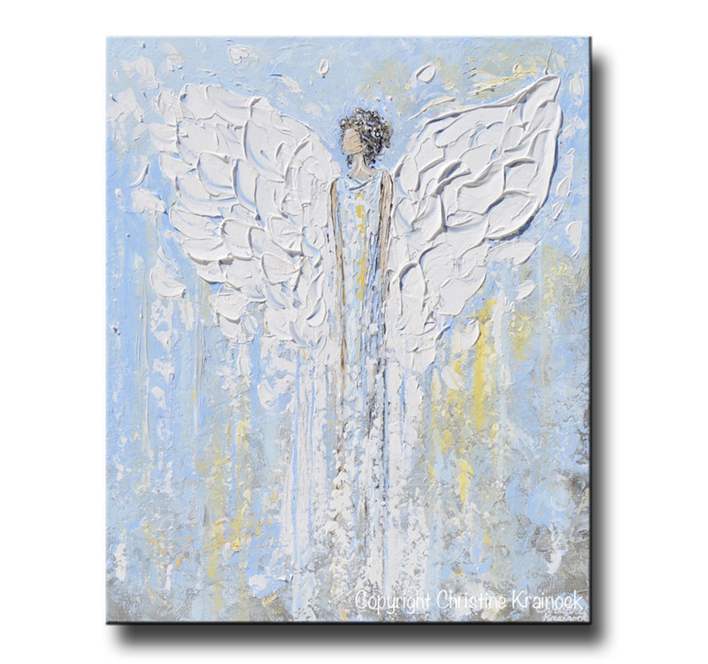 GICLEE PRINT Abstract Angel Painting Blue White Guardian Angel Inspirational Art Spiritual Wall Art - Christine Krainock Art - Contemporary Art by Christine - 6