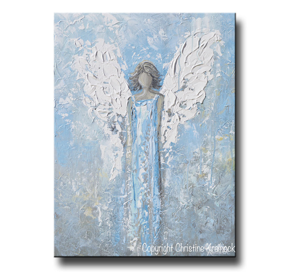 "ORIGINAL Abstract Angel Painting Textured Light Blue White Guardian Angel Palette Knife Fine Art Spiritual Wall Art 24"" - Christine Krainock Art - Contemporary Art by Christine - 3"