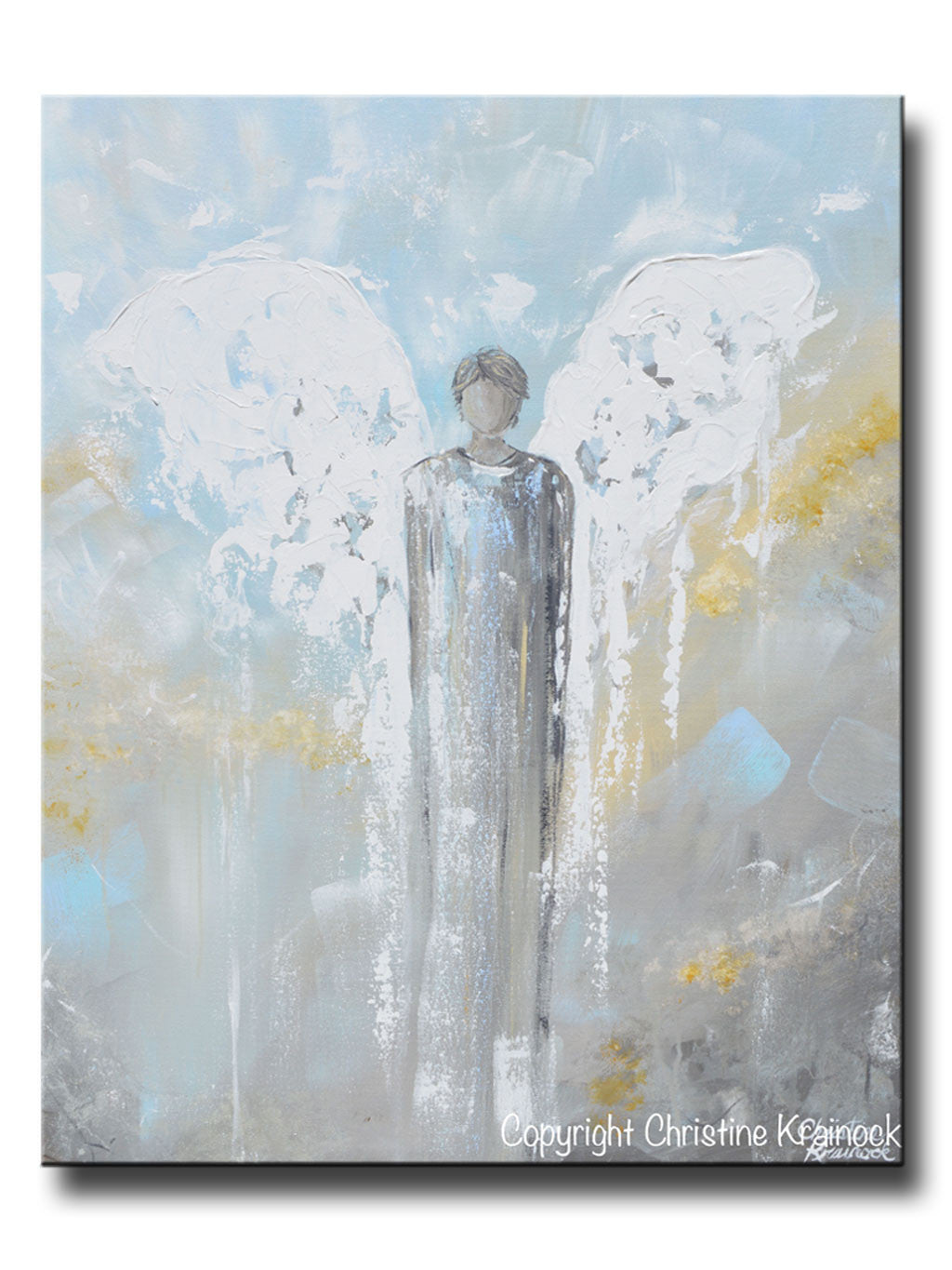 Original abstract angel painting male guardian angel blue gold grey home decor wall art 30x24