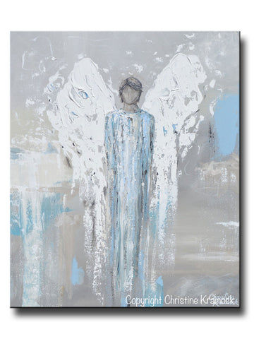 ORIGINAL Angel Painting Abstract Male Guardian Angel Blue Grey Textured Home Decor Wall Art 20x24""