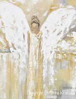 ORIGINAL Abstract Angel Painting Angel of Hope White Yellow Grey Gold Modern Home Decor Wall Art 24x30""