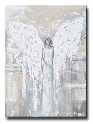 SPECIAL RELEASE GICLEE PRINT Abstract Angel Painting Guardian ANGEL OF LOVE Spiritual Gift Grey Taupe Blue Cream Gold Home Decor Wall Art