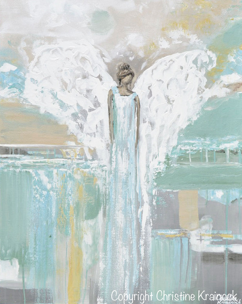 ORIGINAL Abstract Angel Painting Blue Green Grey White Angel Modern Fine Art Home Decor Wall Art 24x30""