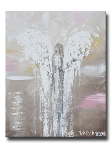 ORIGINAL Abstract Angel Painting Guardian Angel Spiritual Home Decor Wall Art 30x24""