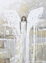 GICLEE PRINT Abstract Angel Painting Art Guardian Angel Grey White Cream Neutral Home Wall Decor