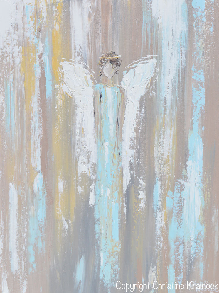 GICLEE PRINT Art Abstract Angel Painting Angel in Blue Wall Art~ Joyful Heart Foundation Charity - Christine Krainock Art - Contemporary Art by Christine - 5
