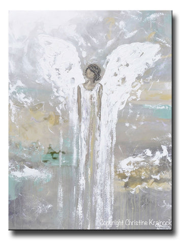 ORIGINAL Abstract Angel Painting Guardian Angel White Grey Gold Green Holiday Home Decor Wall Art Large 30x40""